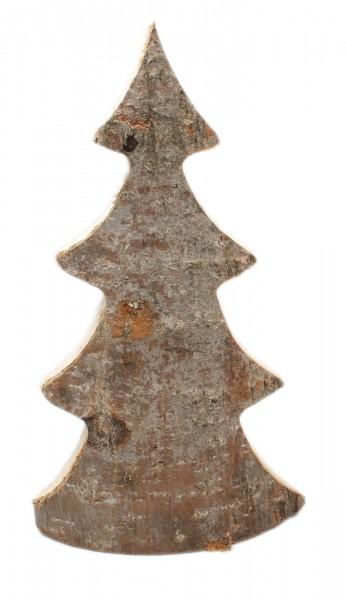 Deko-Figur aus Natur-Holz mit Rinde, Tannen-Baum, 35x19x5cm, Weihnachten X-Mas Dekoration