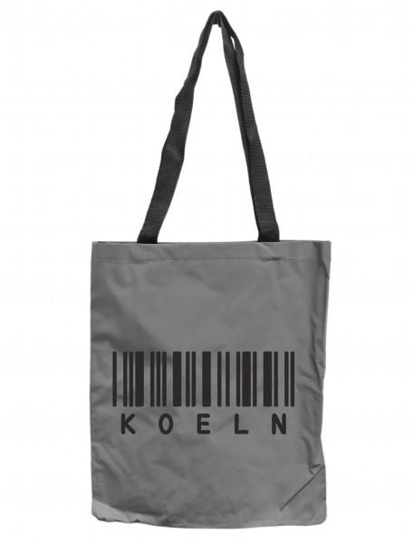 Reflektor-Tasche Köln Barcode, grau-silber REFLEKTIERT! Einkaufs-Beutel mit Innentasche, Einkaufstasche Tragetasche Shopper Shopping-Bag