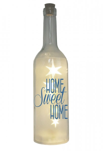 LED-Flasche mit Motiv, Home Sweet Home, blau, 29cm, Flaschen-Licht Lampe mit Text Spruch
