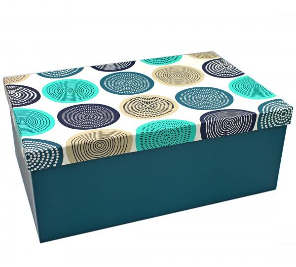 Geschenkbox, Kreise Muster Ornamente türkis blau weiß creme, 12 x 8 x 4,5 cm, 02788, Kiste Box aus Pappe
