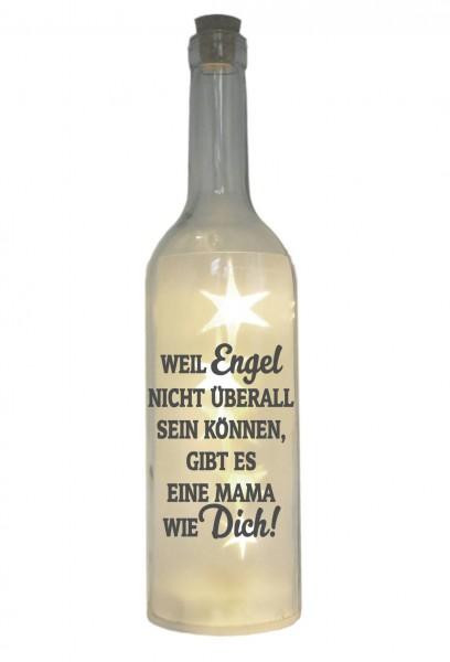 LED-Flasche mit Motiv, Mama - Weil Engel nicht überall sein können gibt es eine Mama wie dich, grau, 29cm, Flaschen-Licht Lampe mit Text Spruch