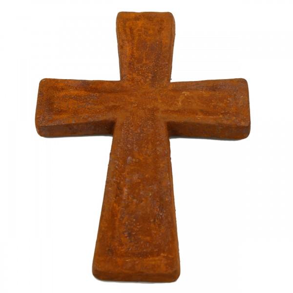 Kreuz zum Legen oder Hängen als Deko für Grab oder Gesteck, In Metall Rost Optik, 14cm