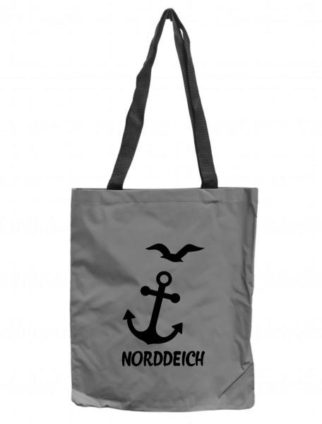 Reflektor-Tasche Norddeich Anker Möwen maritim, grau-silber REFLEKTIERT! Einkaufs-Beutel mit Innentasche, Einkaufstasche Tragetasche Shopper Shopping-Bag