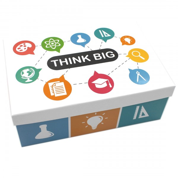 Geschenkbox ~ THINK BIG / Büro Schule Studium Schreibtisch ~ 23,5x15x8,5cm ~ 40792 ~ Kiste Box aus Pappe