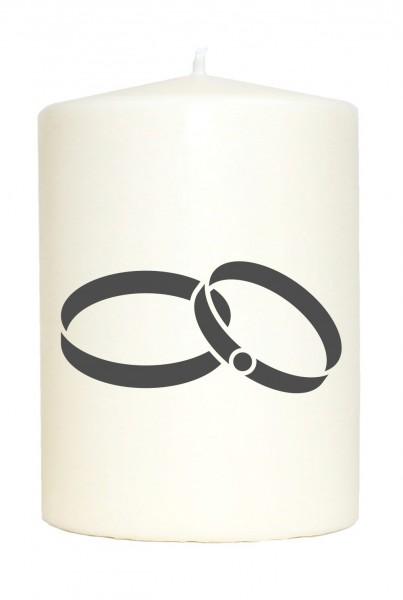 Kleine Spruchkerze weiß, Ehe-Ringe Hochzeit, Aufdruck grau, 10x7cm, Kerze mit Spruch Motiv-Kerze
