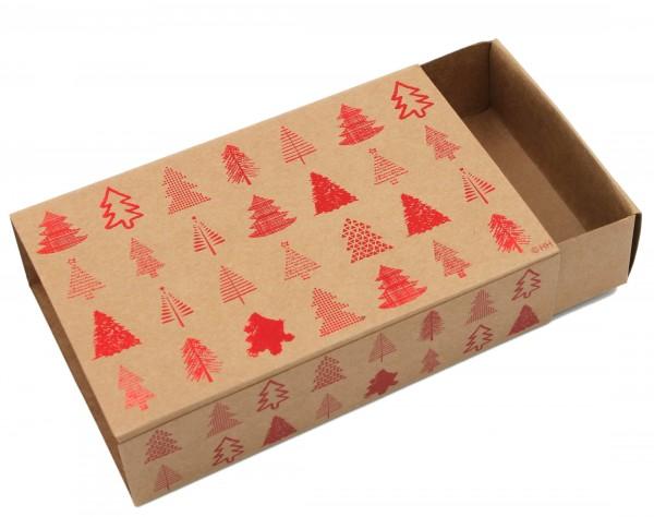 Geschenkschachtel Weihnachten ~ ROT, Bäume mit Metallic-Effekt, Karton in natur-Optik ~ 16x10x6cm ~ Farbe/Motiv wählbar