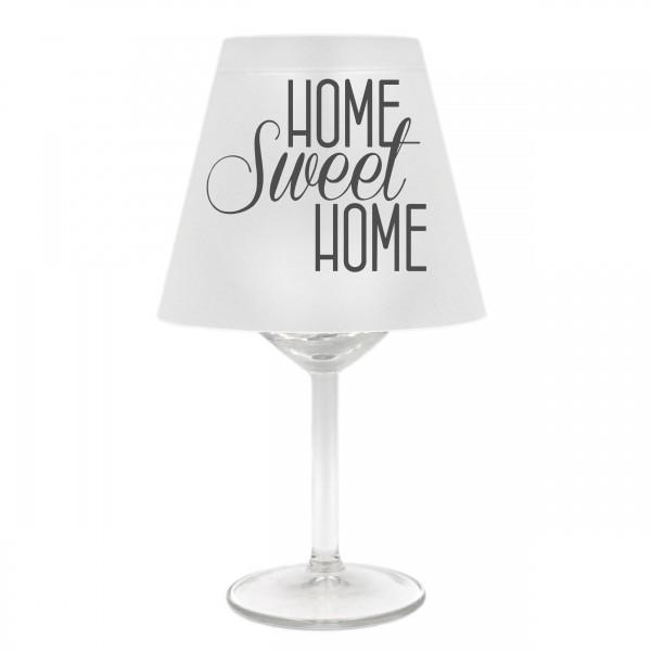 Lampenschirm für Weinglas, HOME sweet HOME, B, grau, Schirm ohne Glas, Windlicht