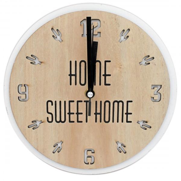 Sommer Wanduhr komplett aus Holz HOME SWEET HOME, Kaktus Muster, natur/beige, 24cm