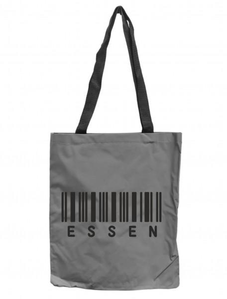 Reflektor-Tasche Essen Barcode, grau-silber REFLEKTIERT! Einkaufs-Beutel mit Innentasche, Einkaufstasche Tragetasche Shopper Shopping-Bag Ruhrpott