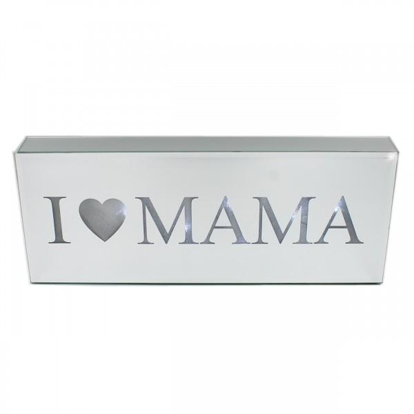 Edles LED-Bild aus Glas zum Stellen, I love Mama, leuchtend!, 40 x 16 x 5 cm