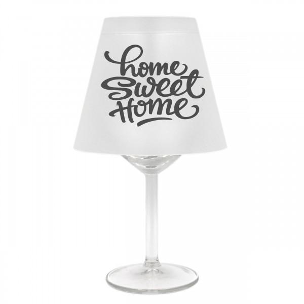 Lampenschirm für Weinglas, Home sweet home, A, grau, Schirm ohne Glas, Windlicht
