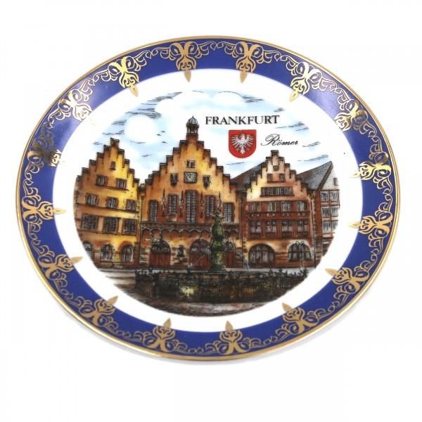 Wand-Teller Frankfurt Römer, blau gold, 13cm, Müller Porzellan, Sammelteller Deko-Teller Wand-Bild Wanddeko Wand-Kunst