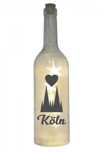 LED-Flasche mit Motiv, Kölner Dom Herz Köln, grau, 29cm, Flaschen-Licht Lampe mit Text Spruch Stadt