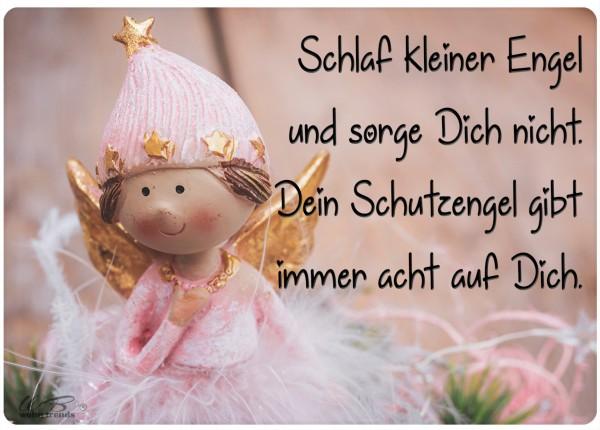 Holz-Postkarte, Schlaf kleiner Engel Schutzengel, Holz-Schild Wand-Bild Deko-Schild 15x10cm