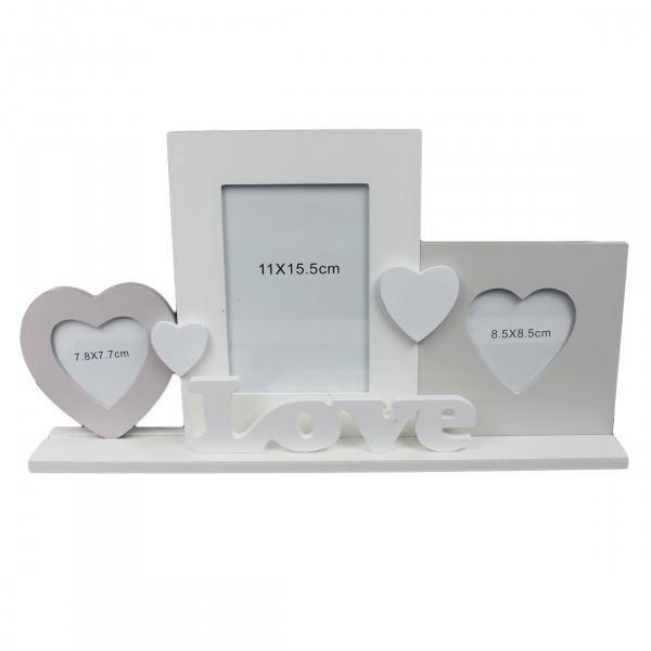 Süßer Bilderrahmen LOVE für 3 Fotos, aus Holz zum Stellen, weiß grau, 42 x 23 x 6 cm