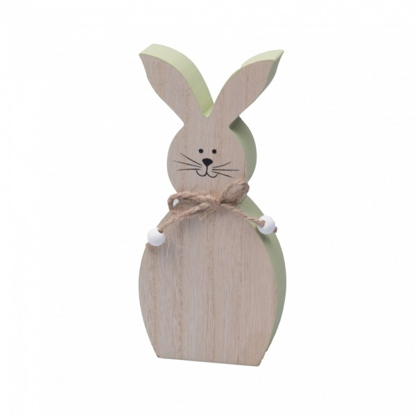 Süßer Hase aus Holz, grün 17cm Größe M, Hasen-Figur zum Stellen