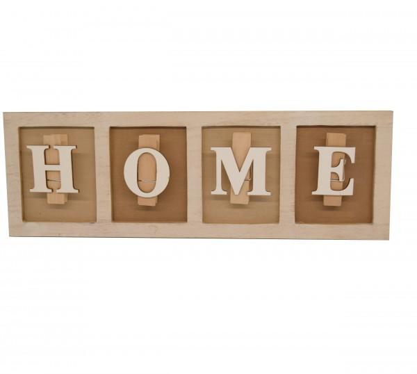 Klemmbrett HOME, als Memoboard oder Bilderhalter nutzbar, aus Holz, 40 x 13,5 x 3 cm