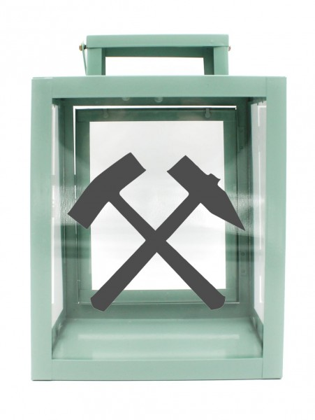 Metall-Laterne Schlägel und Eisen Bergbau Glück-auf mint-grün 25x18x13cm für LED-Kerzen