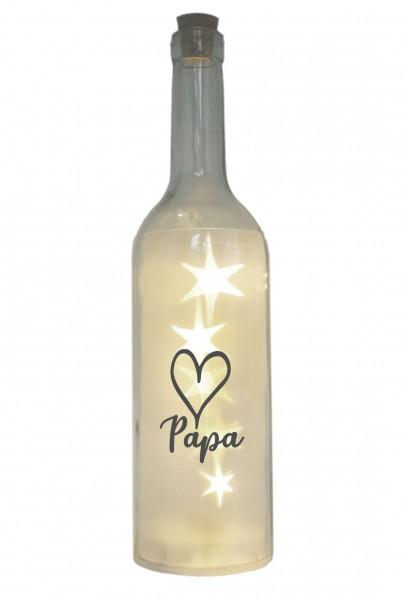 LED-Flasche mit Motiv, Herz Papa, grau, 29cm, Flaschen-Licht Lampe mit Text Spruch