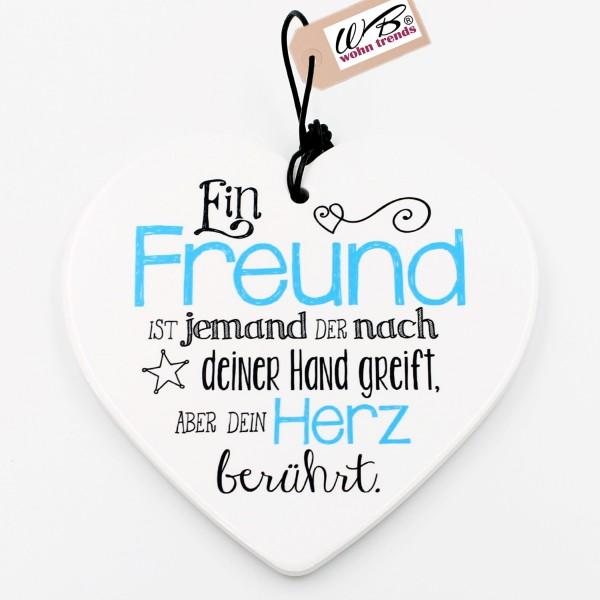 Keramik Herz, Ein Freund ist jemand der nach deiner Hand greift..., zum Hängen und Legen, ca 15cm