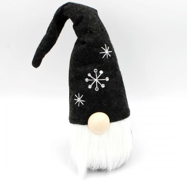 Süßer Wichtel mit Hut, Nase und Bart ~ schwarz, weiß, Sterne, Glitzersteine ~ L 40cm