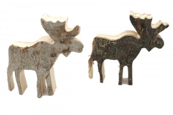 2 Stück Deko-Figur aus Natur-Holz mit Rinde, Hirsch Elch Rentier 2er Set, 15x15x4cm, Weihnachten X-Mas Dekoration
