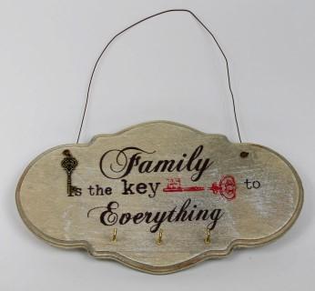 Vintage Braunes Deko Holz Schlüsselbrett, Family is the key to everthing, 3 Haken