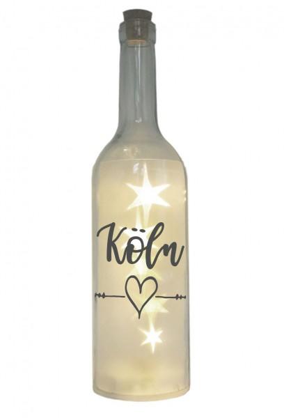LED-Flasche mit Motiv, Köln Herz, grau, 29cm, Flaschen-Licht Lampe mit Text Spruch Stadt