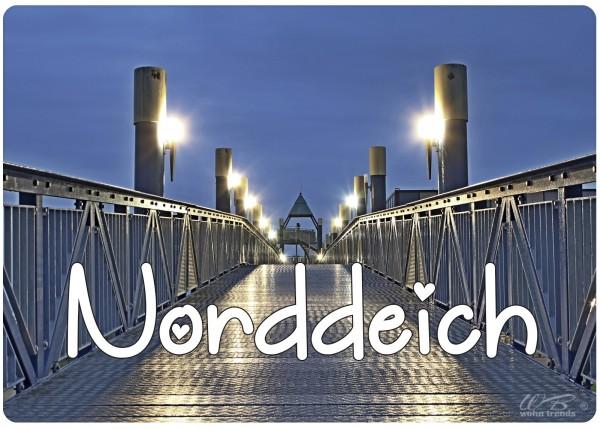 Holz-Brett, Norddeich bei Nacht Aussichts-Turm Strand, Holz-Schild Wand-Bild 21x15cm