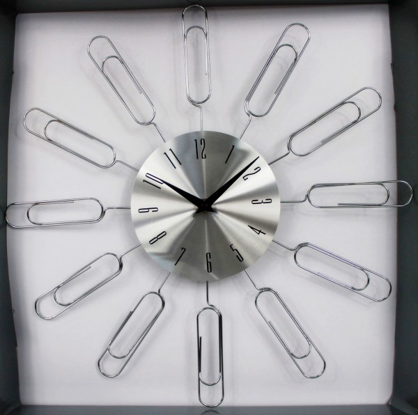 Wanduhr aus Metall - mit Büroklammern / Memoboard - d=44cm - Vintage Shabby Uhr