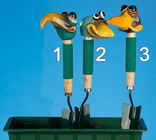 Gartenstecker - Vogel Kopf auf Schaufel - (Figur 1) - bunt & trendig - ca 44cm hoch
