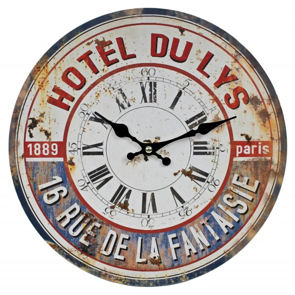 Wanduhr aus Holz, HOTEL DU LYS Paris 1889, rot blau / 29cm, Vintage Shabby Uhr, WB wohn trends