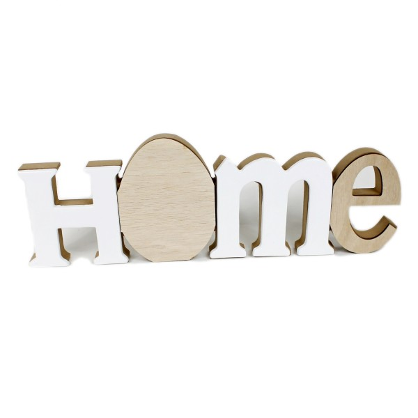 Großer Schriftzug HOME, Holz mit Kunststein, natur / weiß, 40 x 13 x 3 cm