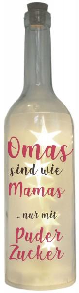LED-Flasche Folien-Motiv, Omas sind wie Mamas nur mit Puderzucker, 29cm, Flaschen-Licht Lampe mit Text Spruch