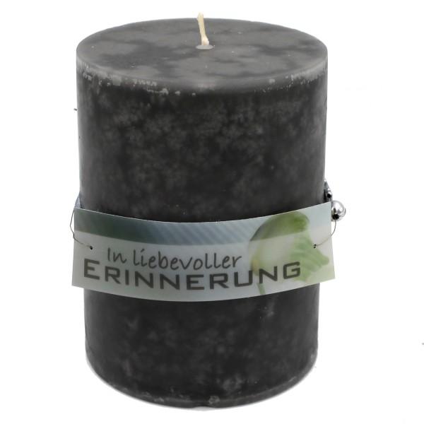 Rustik Trauer-Kerze mit Duft, In liebevoller Erinnerung, Trauer-Spruch 12x8,7cm 630g
