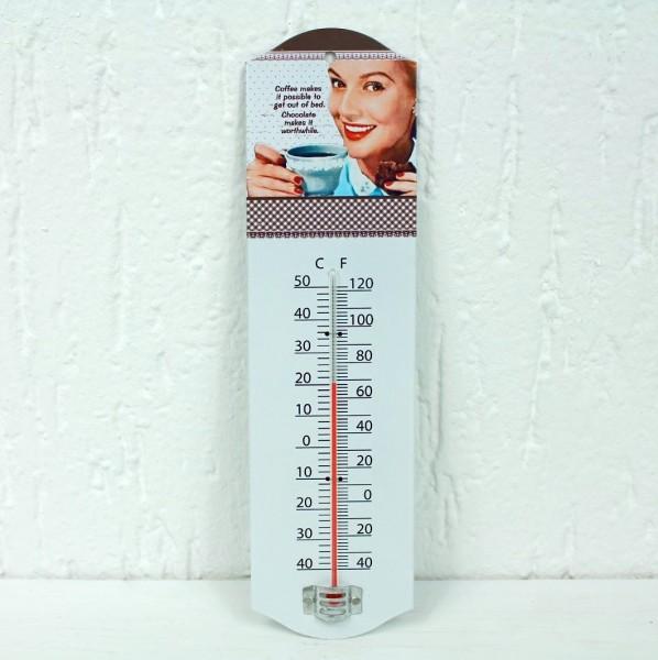 Blech Thermometer im Vintage-Design - Kaffee Werbung Foto Nostalgie Postage - für Haus und Garten
