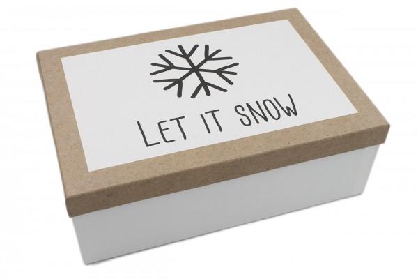 Geschenk-Box Let it snow Schneeflocke schwarz weiss, 18x10,5x7cm, 227, Größe&Farbe wählbar, Weihnachten Kiste Karton aus Pappe