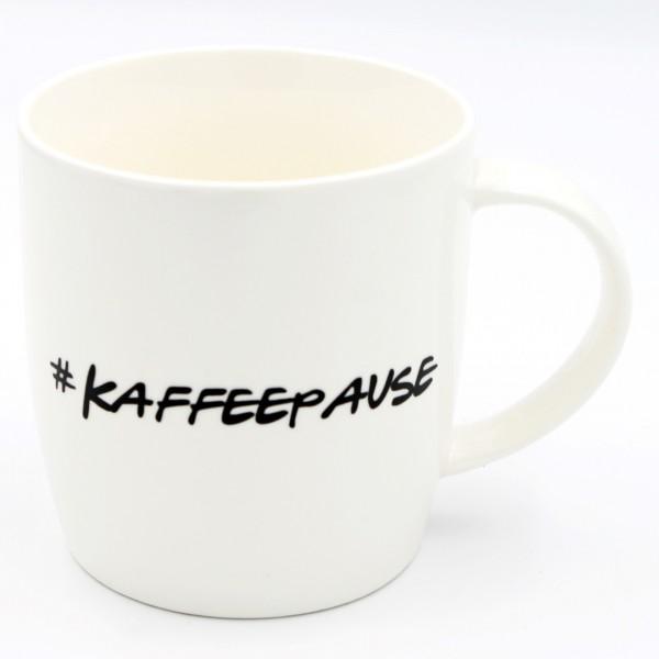Tasse #KAFFEEPAUSE ~ stilvoller Kaffee-Becher ~ creme-weiß