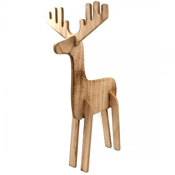 XXL-Aufsteller Elch Peter, aus Holz, 52x32,5x24cm, Deko für Weihnachten