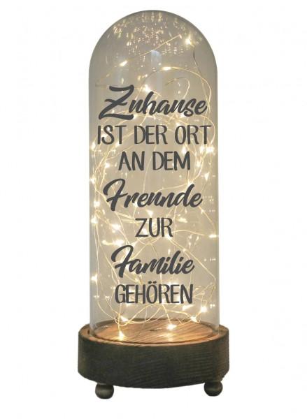 LED-Glaskuppel XXL mit Motiv, Zuhause ist der Ort an dem Freunde zur Familie gehören, grau, 29cm, Glas-Licht Lampe mit Text Spruch