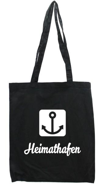Tasche Heimat-Hafen, Druckfarbe auswählbar, Einkaufs-Beutel schwarz