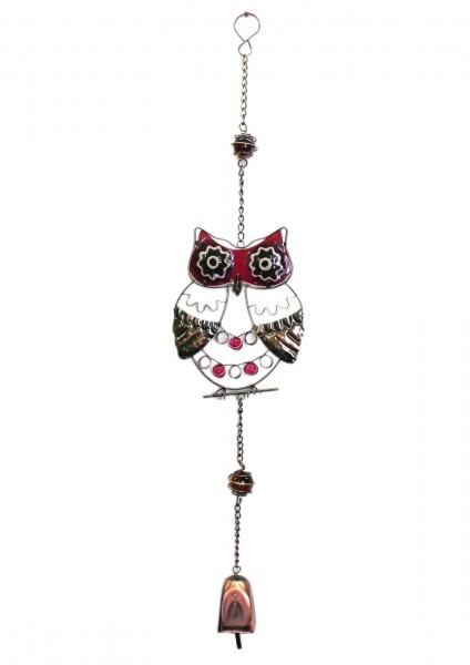 Eule, Deko aus Metall zum Hängen, lila, mit Leucht-Glas und Glocke, ca 67cm