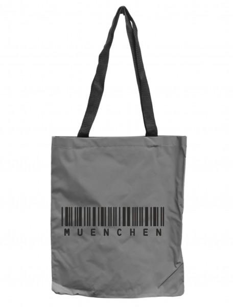 Reflektor-Tasche München Barcode, grau-silber REFLEKTIERT! Einkaufs-Beutel mit Innentasche, Einkaufstasche Tragetasche Shopper Shopping-Bag Bayern