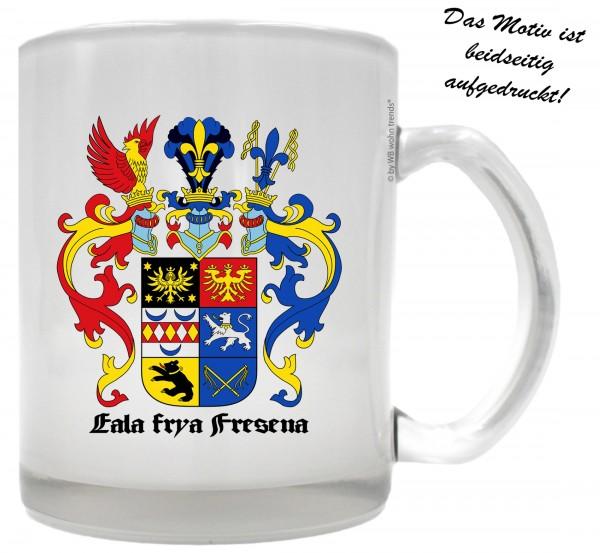 Tee-Glas mit beidseitigem Motiv, Ostfriesland Wappen, Farbe: Milchglas, Kaffee-Tasse mit Motiv
