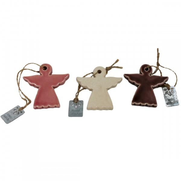 3er Set ~ Kleine Engel aus Keramik zum Hängen ~ z.B. am Weihnachtsbaum, Gesteck usw ~ 7cm