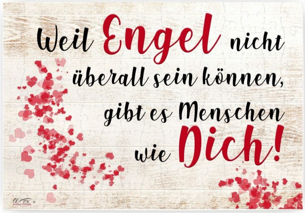 Puzzle-Botschaft eckig, Weil Engel nicht überall sein können gibt es Menschen wie Dich, 120 Teile 27x18cm inkl. Geschenk-Beutel