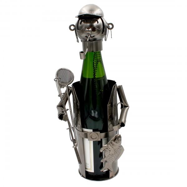Weinflaschenhalter, Figur Angler, Skulptur aus Metall