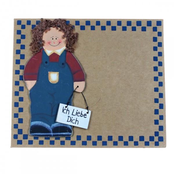 Grußkarte mit Holzfigur ~ Ich Liebe Dich ~ Junge ~ mit Umschlag ~ Pappe 16,5 x 14 cm
