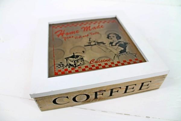 Kapselbox Home Made Cuisine - Kaffe Kapsel Box Halter - Cotton Landhaus Shabby