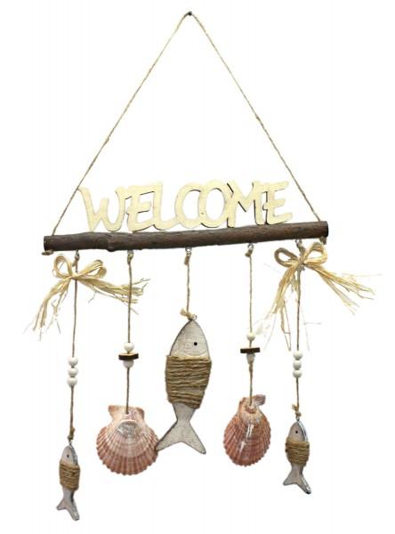 Maritimer Hänger WELCOME, aus Holz mit Fischen und Muscheln, 30x33cm, Maritim Willkommen Schild